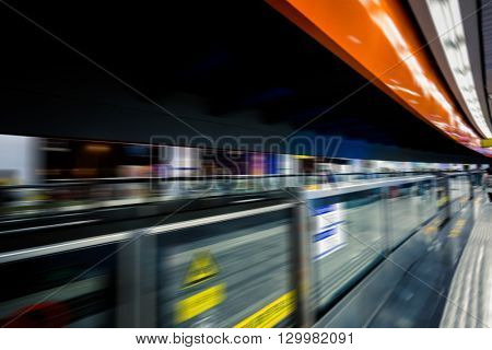 blurred motion subway,chongqing china.