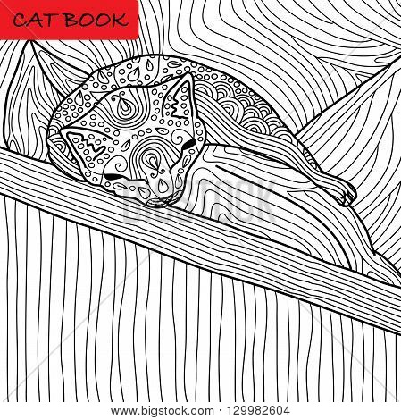Coloring cat page for adults. Funny baby kitten sleeping on the pillow. Hand drawn illustration with patterns. Zenart