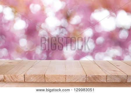 Brown Wood Table Top On Bokeh Abstract Pink Background - Can Be Used For Montage Or Display Your Pro