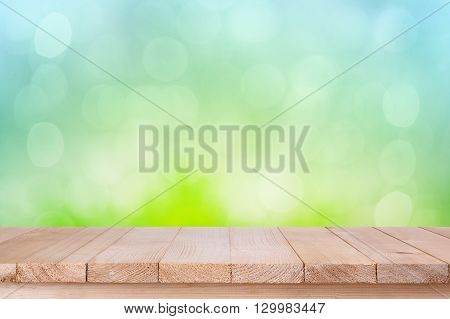 Brown Wood Table Top On Bokeh Abstract Green Background - Can Be Used For Montage Or Display Your Pr