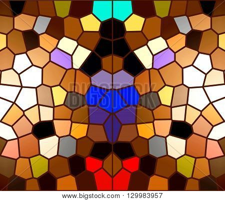 Mosaic on the windows. The painting shows a bright and colorful mosaic, which are usually installed on the windows.