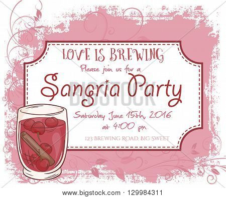 vector hand drawn sangria party invitation card, vintage frame, glass and leaves.