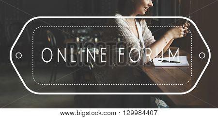 Online Forum Internet Sharinf Social Media Web Concept