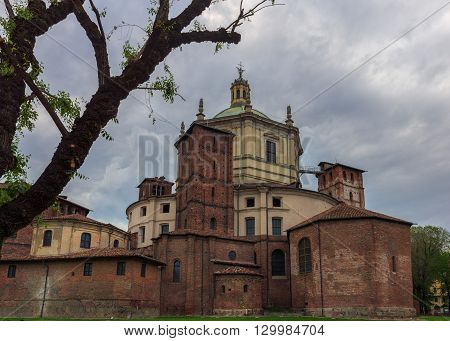 Saint Lawrence (San Lorenzo) Cathedral back side in MilanItaly.