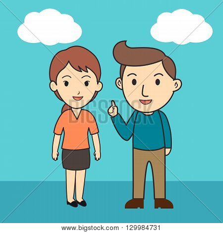 Man and woman in cartoon character , human and blue sky