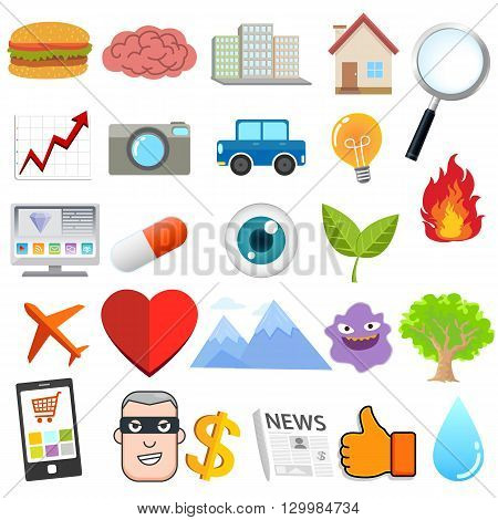 Cartoon object , food and traveling , natural and technology