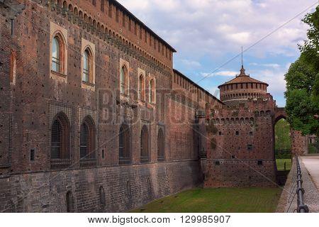 In the picture the Outer Wall of Sforza castle (Castello Sforzesco) in Milan Italy