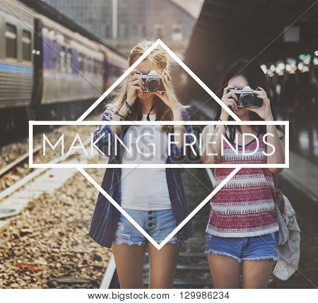 Making Friends Connecting Enjoyment Sharing Concept