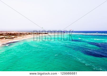 Aerial from Boca Grandi beach on Aruba island in the Caribbean Sea