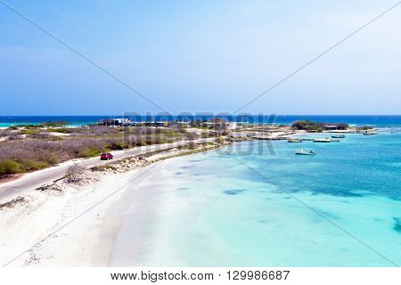 Aerial from Rogers Beach on Aruba island in the Caribbean Sea