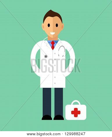 Doctor in flat style. Medicine concept. Template of man Doctor standing. Isolated vector illustration. People character, medical doctor illustration.