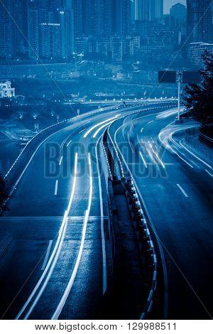car trails on highway,chongqing china