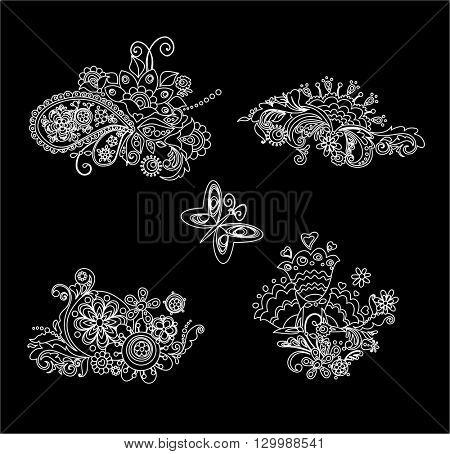 Black and white mhendi design