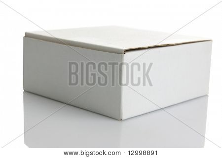 White carton box isolated on white background