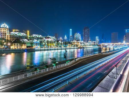 night view of tianjin,china