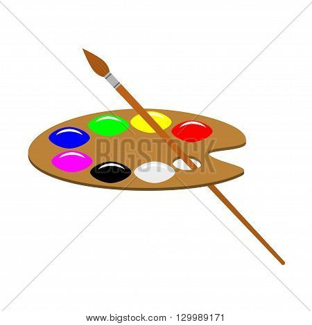 Artist's palette and brush vector illustration. Isolated on white artist's palette and brush.