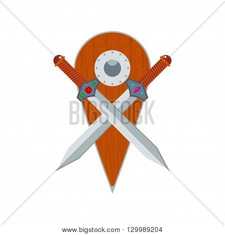 Vector two crossed swords and wooden shield. Isolated on white.
