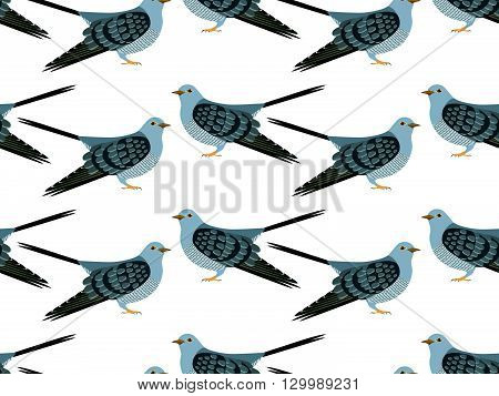 Seamless pattern of vector Cuckoo. Cuckoo background. Vector art background design for fabric, papper, skrapboking and decor.