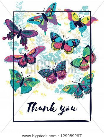 Thank you decoration with butterflies in summer colors. Fabulous thank you concept design. Thank you concept background in vector. Butterflies and flowers in vector.