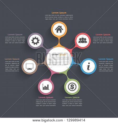 Circle diagram infographics with seven elements with icons and text, circle flow chart template