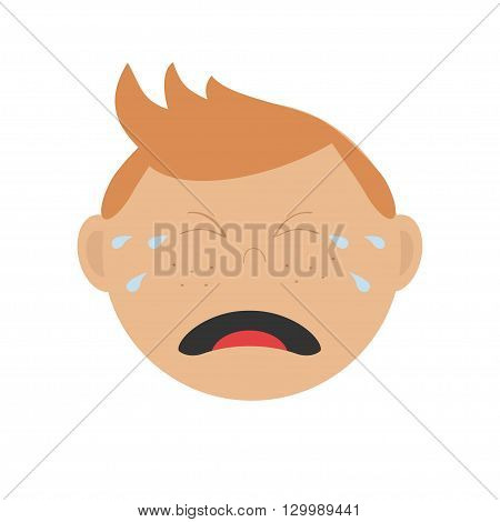 Crying screaming guy head. Baby boy emotion collection. Cute cartoon character with red hair and freckles. Face with tears. Abuse anger boy icon. White background Isolated Flat design. Vector