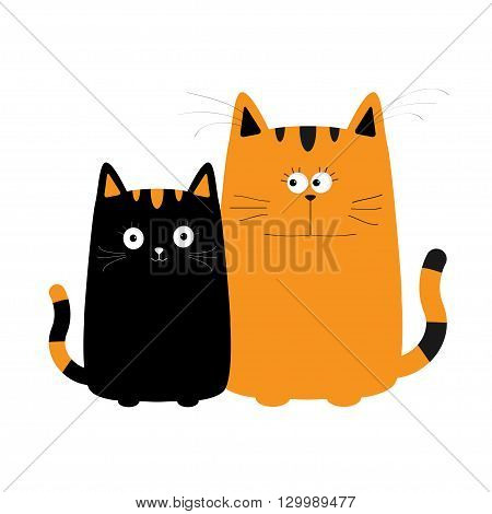 Cute red orange cartoon cat boy and black kitty girl. Big mustache whisker. Funny character set. Happy family. Love greeting card. Flat design. White background. Isolated. Vector illustration