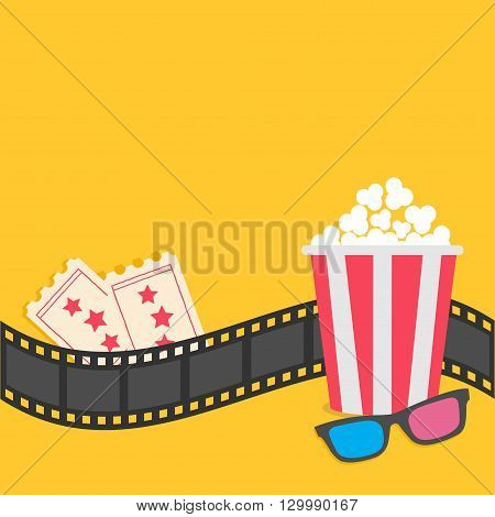 Popcorn. Film strip border. 3D glasses. Tickets. Red striped box. Cinema movie night icon in flat design style. Yellow background. Vector illustration