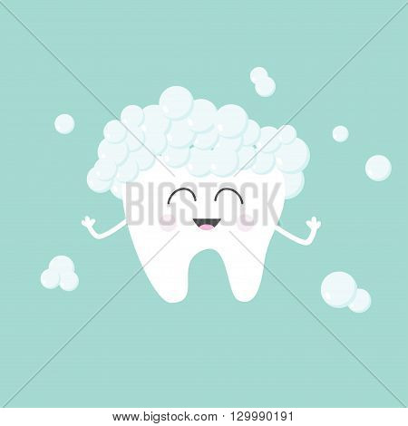 Tooth with toothpaste bubbles foam. Cute funny cartoon smiling character. Children teeth care icon. Oral dental hygiene. Tooth health. Baby background. Flat design. Vector illustration