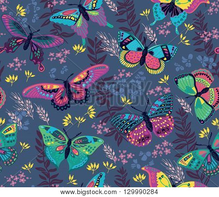 Seamless pattern with flying butterflies and flowers in dark blue background. Butterfly vector illustration