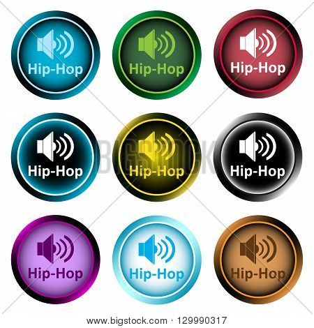 Clipart with a set of icons with musical style, hip-hop
