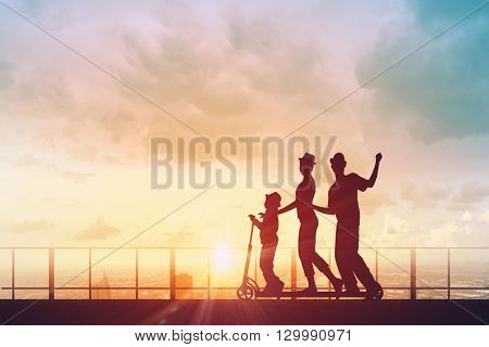Young cheerful family