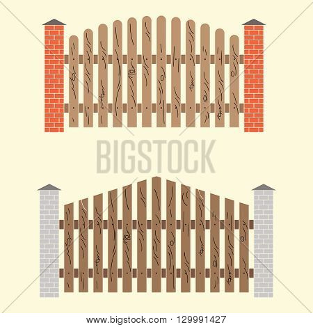 Two variants of the fence from boards with brick pillars. Vector image.
