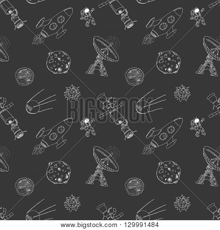 Space doodles icons seamless pattern. Hand drawn sketch with meteors Sun and Moon radar astronaut and rocket. vector illustration on chalkboard.