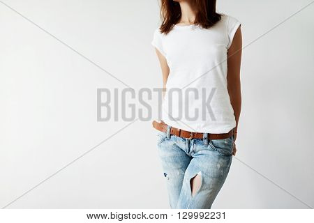 Close Up Isolated View Of Young Female With Dark Hair In White T-shirt With Copy Space For Your Info