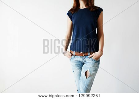 Close Up Of Hipster Teenager Wearing Blank T-shirt With Copy Space For Your Promotional Content. Fem