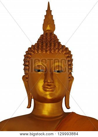 a golden buddha statue isolated on white background