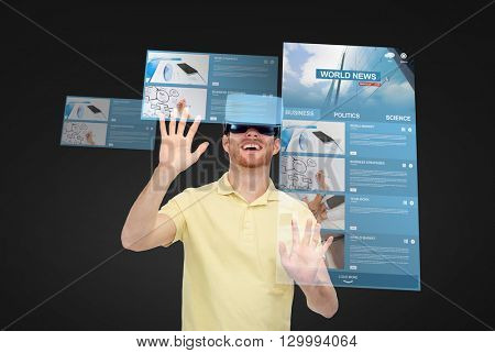 3d technology, virtual reality, internet, mass media and people concept - happy young man in virtual reality headset or 3d glasses playing game over black background with world news on screens
