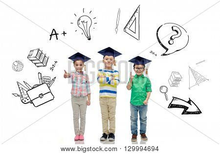 childhood, school, education, knowledge and people concept - happy children in bachelor hats or mortarboards and eyeglasses over doodles