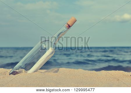 Message in the bottle from ocean. Coming message concepts