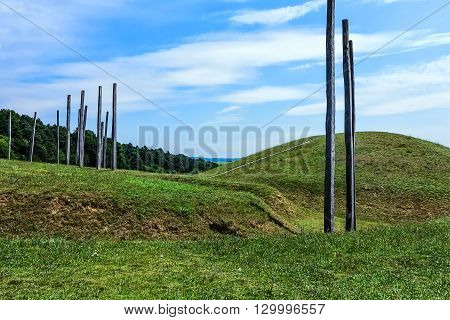GLAUBERG,GERMANY-JUNE 26, 2015: Celtic oppidum in Hesse, consisting of a fortified settlement and several burial mounds, a princely seat of the late Hallstatt and early La Tène centres in Europe