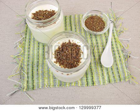 Yogurt from yogurt maker with ground flax seeds