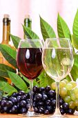 stock photo of wine-glass  - Wine glass with bottle of wine - JPG