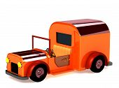 foto of beetle car  - 3d orange toy car isolated on white - JPG