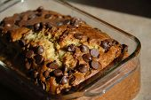 pic of chocolate-chip  - macro of a nice banana bread cake on the counter - JPG