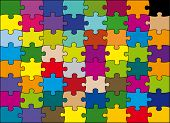 stock photo of peculiar  - 64 pieces puzzle vector color - JPG