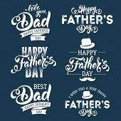 Fathers Day Lettering Calligraphic Emblems, Badges Set. Isolated on Dark Blue. Happy Fathers Day, Be poster