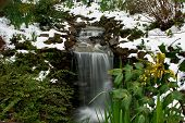 picture of early spring  - a waterfall in the early spring surrounded by melting snow - JPG