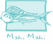 stock photo of mahi  - tropical fish Mahi Mahi swims in a woodcut style image - JPG