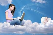 stock photo of little angel  - girl with notebook on cloud and little angel collage - JPG