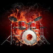 stock photo of drum-set  - Drums in fire  - JPG